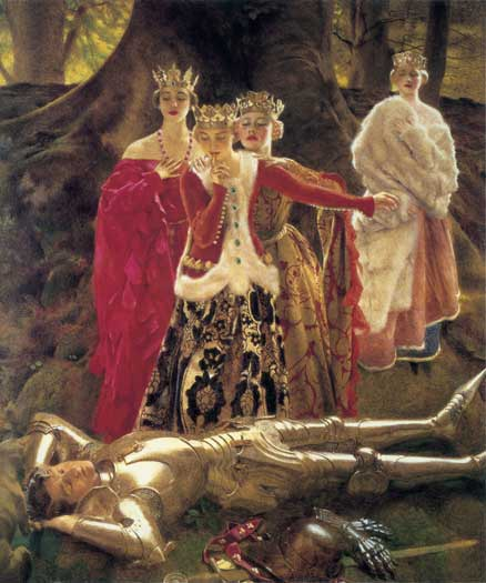 Four Queens Find Lancelot Sleeping, Frank Cadogan Cowper