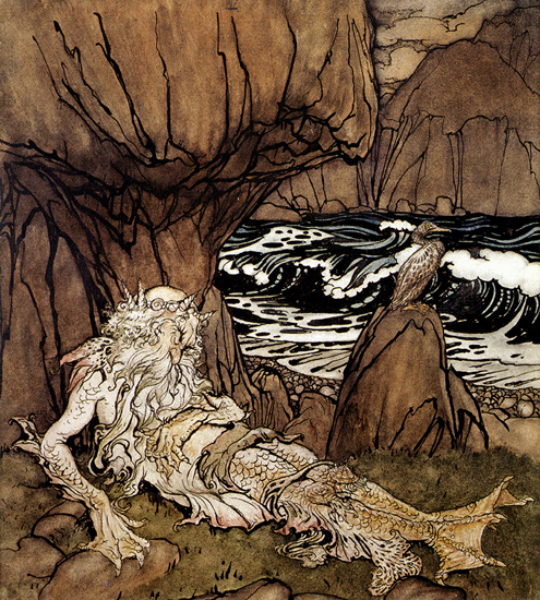 A Crowned Merman, Arthur Rackham, 14.4X16
