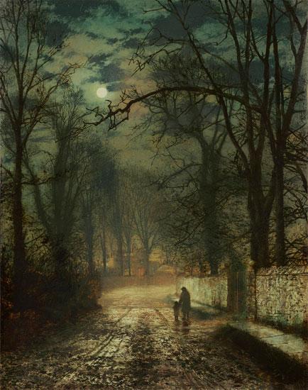 A Moonlit Lane, John Atkinson Grimshaw (17.4X22)
