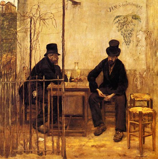 The Absinthe Drinkers, Jean-Fran�ois Raffa�lli (18X18.1)