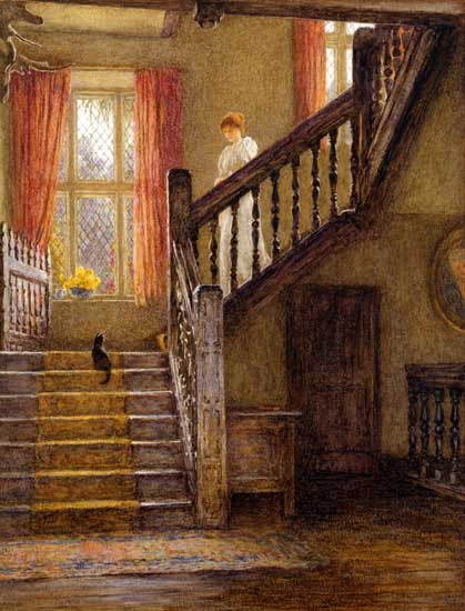 Staircase, Whittington Court, Helen Allingham