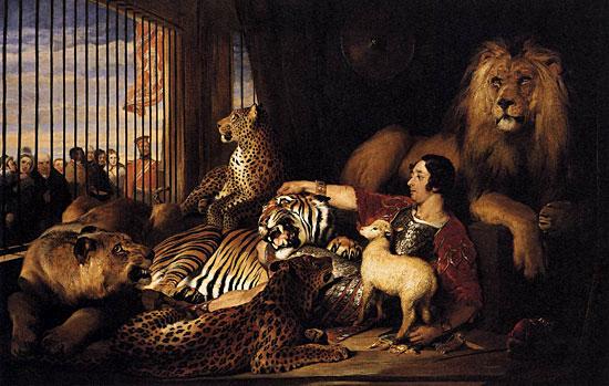 Isaac van Amburgh and his Animals, Edwin Landseer (22x35)