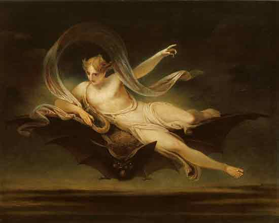 Ariel on a Bat's Back,  Henry Singleton