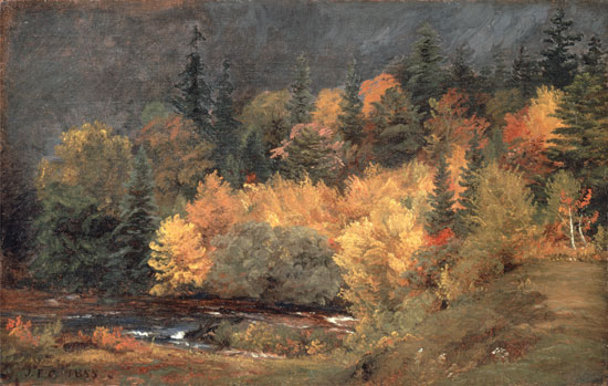 Autumn by the Brook, Jasper Francis Cropsey (15.25X24)