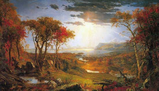 Autumn on the Hudson River, Jasper Francis Cropsey (23X40)