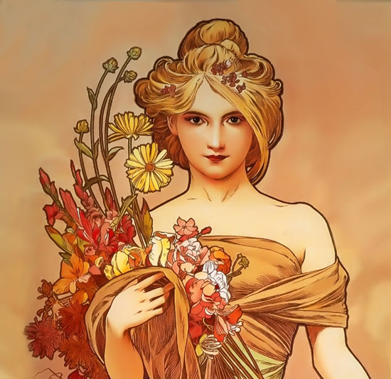 Autumn (detail), Mucha (16.5X22)