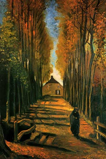 Avenue of Poplars at Sunset, Vincent van Gogh (22X33)