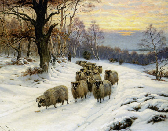 Shepherd with His Flock on a Path in Winter, Wright Barker