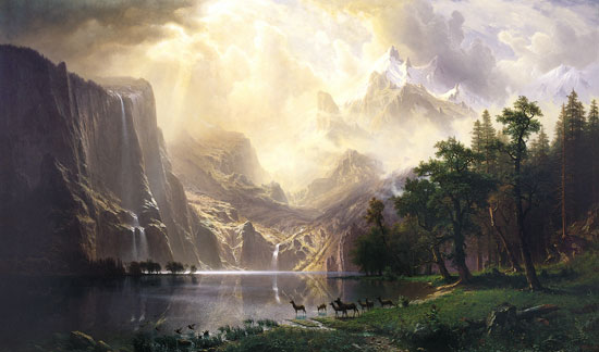 Among the Sierra Nevads Mountains, Albert Bierstadt (24X40)