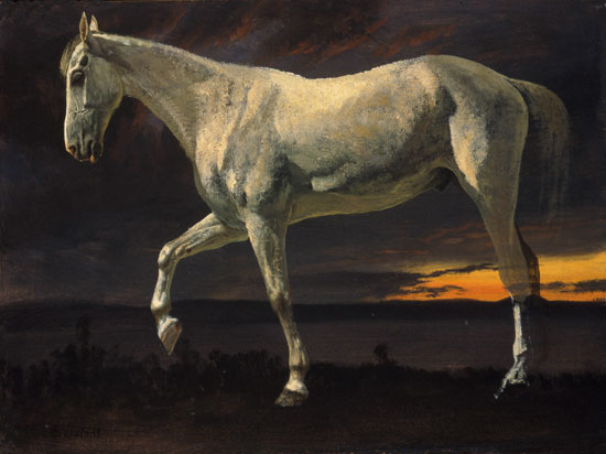 White Horse and Sunset, Albert Bierstadt (22X29.4)