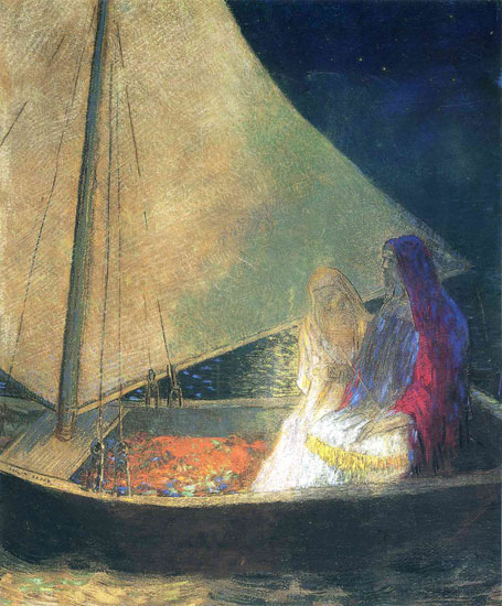 Boat with Two Figures, Redon