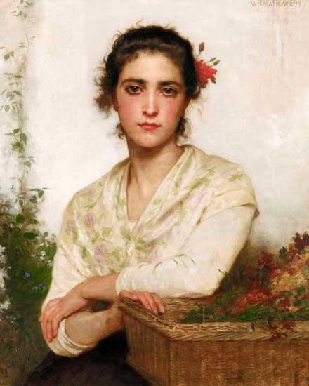 The Flower Seller, Bouguereau (16x20)