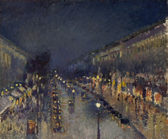 Boulevard, Montmarte at Night, Camille Pisarro (28x34)