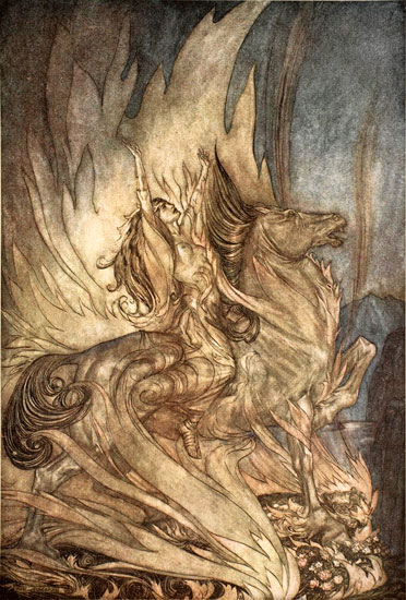 Br�nnhilde on Grane Leaps on to the Funeral Pyre of Siegfried, Rackham (12X16)