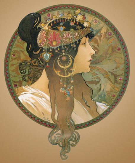 Byzantine Head, Alphonse Mucha