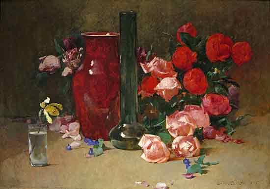 Roses and Vase, Emil Carlsen