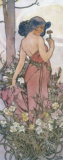 Carnations, Alphonse Mucha (13.5X34)