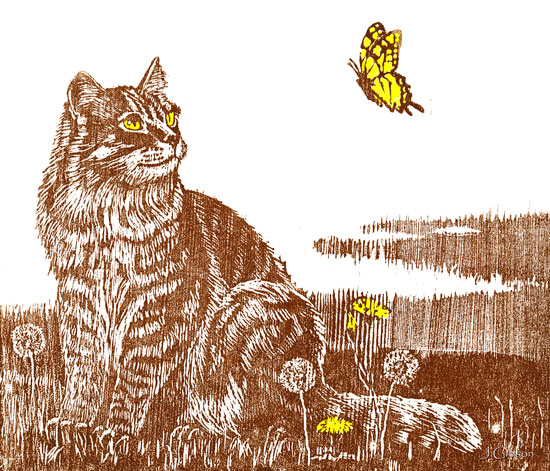 Cat with Butterfly, Woodcut, Joyce Gibson