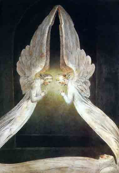 Christ in the Sepulcher with Angels, William Blake (28X26)