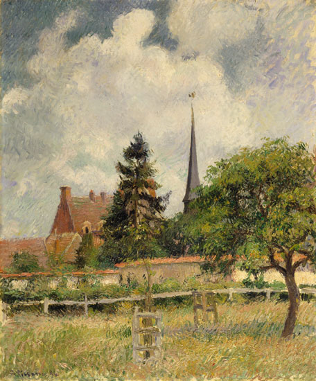 The Church at Eragny, Camille Pissarro (22x26.6)