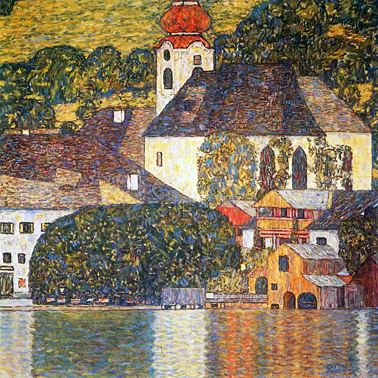 Church in Unterach at the Attersee, Klimt (22x22)