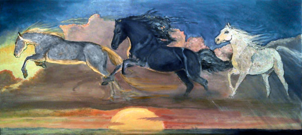 Cloud Horses, Lighting, Thunder, and Rain, Joyce Gibson (18X40)