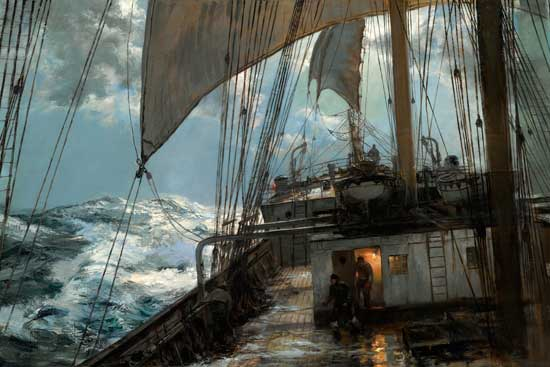A Night at Sea,  Montague Dawson