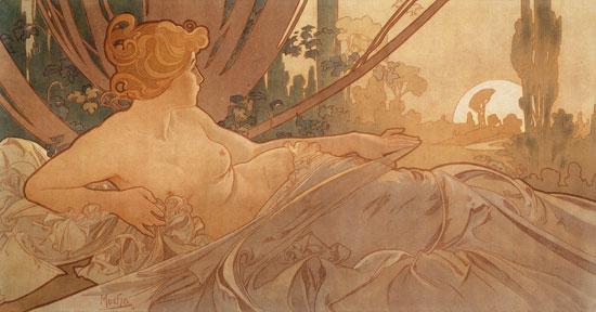 Dawn, Alphonse Mucha, (11.5X22)