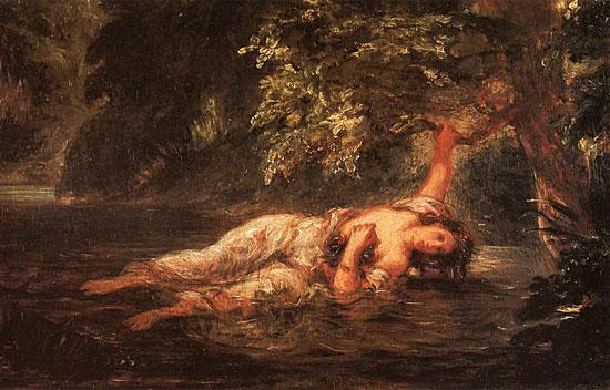 The Death of Ophelia, Eugene Delacroix (16X25)