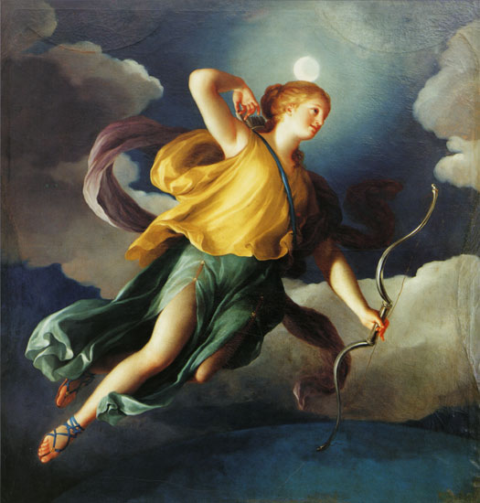 Diana as Personification of Night,Anton Raphael Mengs (21x22)