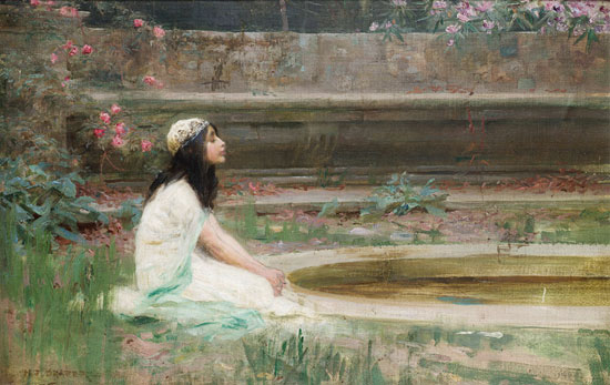 A Young Girl by a Pool, Herbert James Draper (16X25.5)