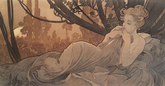 Dusk, Alphonse Mucha (11.5X22)