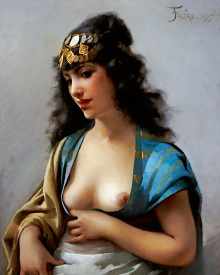 An Eastern Beauty, Luis Ricardo Falero (17.7x22)