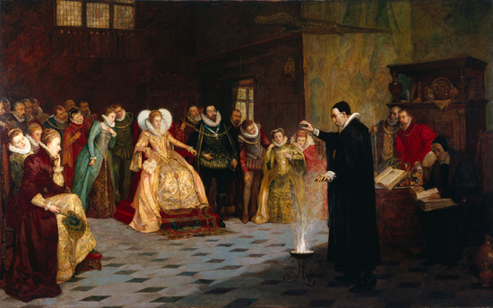 John Dee performing an experiment before Queen Elizabeth I, Henry Gillard Glindoni