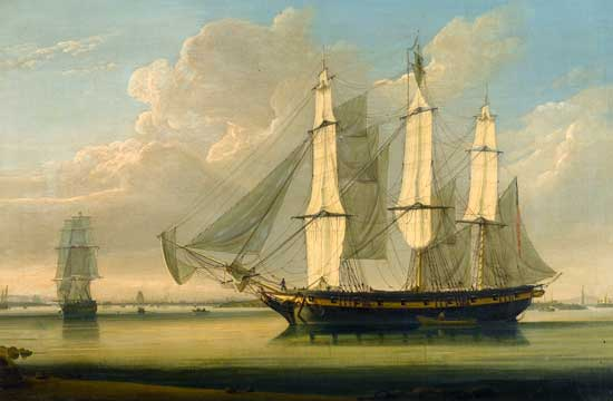 A Fully Rigged Ship in the Thames off of Woolwich, Salmon (22X33.4)