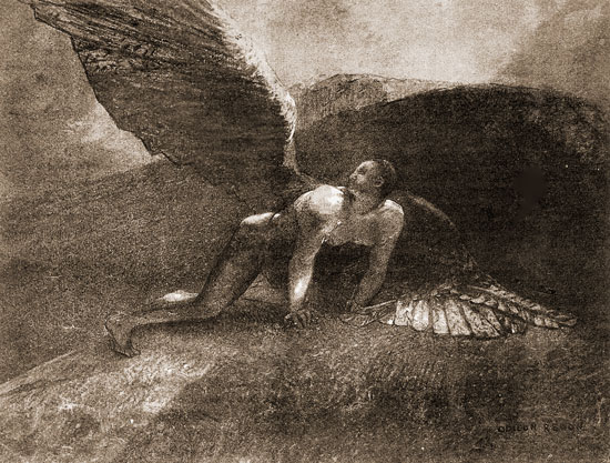 Fallen Angel, Odilon Redon (16.7X22)