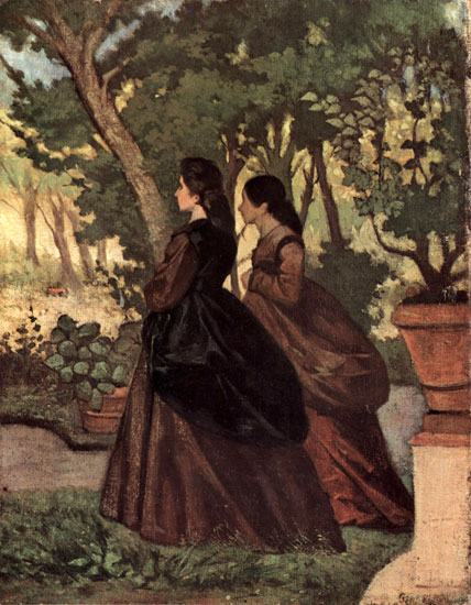 Two Ladies in the Garden of Castiglioncello, Giovanni Fattor (22X28)i