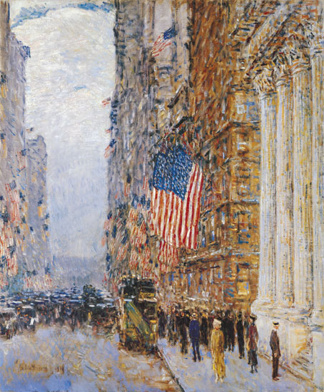 Flags on the Waldorf, Hassam (24X29.5)