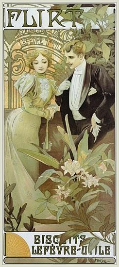 Flirt, Alphonse Mucha (14.6X34)