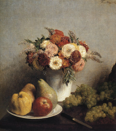 Flowers and Fruit, 1865, Henri Fantin-Latour (20X22)