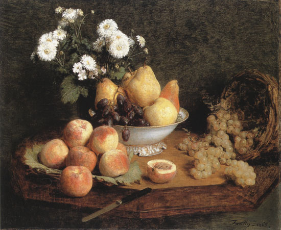 Flowers and Fruit, Henri Fantin-Latour (16X19.5)