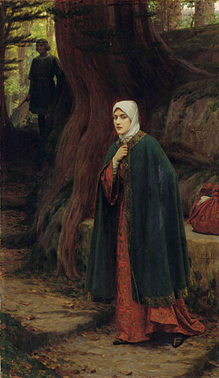 A Forest Tryst, Edmund Blair Leighton (16X24.5)
