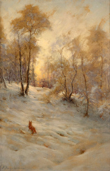 A Fox and Pheasant in the Snow, Joseph Farquharson (16X25)