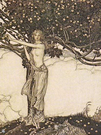 Freya, Goddess of Youth, Arthur Rackham