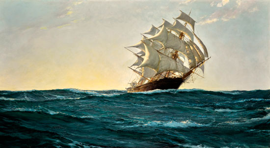Full Sail at Sunset, Montague Dawson