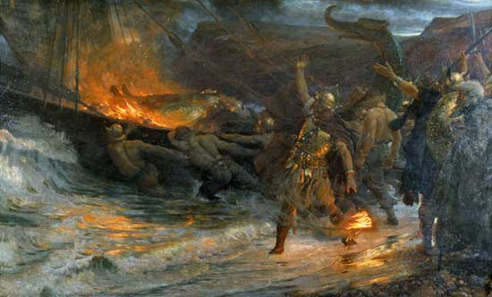 Funeral of a Viking, Dicksee (24X37.5)