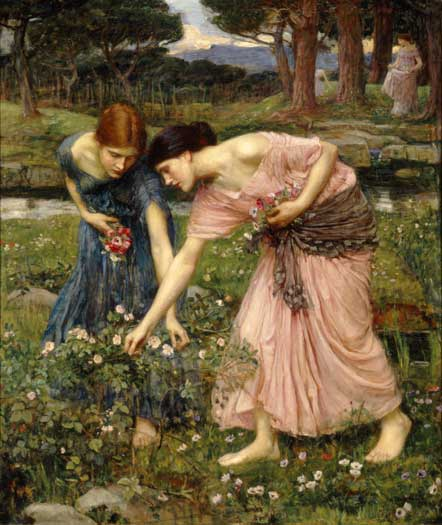 Gather Ye Rosebuds-1909, Waterhouse (16X19)