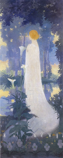 Girl with Calla Lily, Albert Braut (12X30)