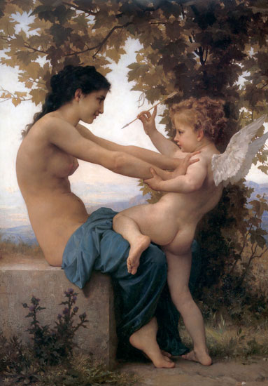 Young Girl Defending Herself Against Love, Bouguereau (16X23)
