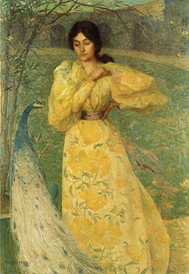 Girl with a Peacock, Aman-Jean (16X23.25)